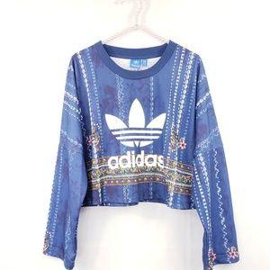 Adidas Trefoil Oversized Floral Crop Sweatshirt